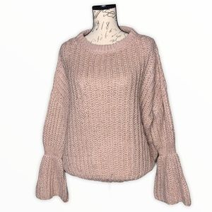 Bell Sleeve Chunky Blush Knit Crew Neck Sweater